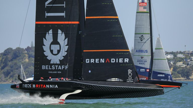 INEOS TEAM UK will race against Emirates Team New Zealand twice on day two (Image copyright: COR 36 | Studio Borlenghi)