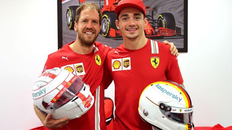 Sebastian Vettel and Charles Leclerc swap crash helmets after their final races as team-mates. Credit: @Scuderia Ferrari Press Office