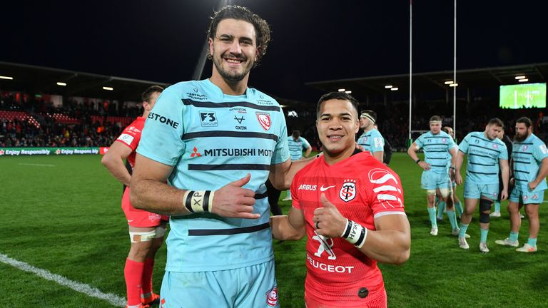 Kolbe poses with fellow South African Gerbrandt Grobler following a Champions Cup match between Toulouse and Gloucester - Kolbe had been told by many in South Africa that he was too small to make it at Test level