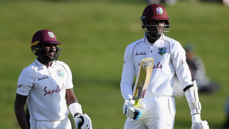 Alzarri Joseph (R) scored his maiden Test half-century in a defiant stand with Jermaine Blackwood for the West Indies