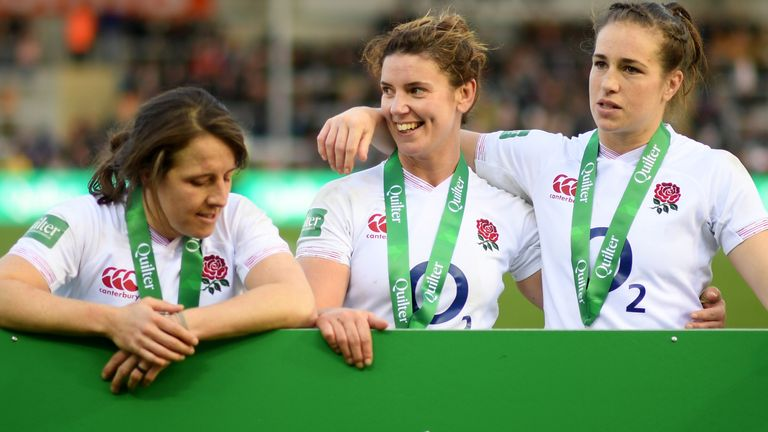 Katy Daley-Mclean is England's third most-capped player of all time, behind Rochelle Clark and Sarah Hunter (centre), and second only to Emily Scarratt (right) in the list of all-time points scorers