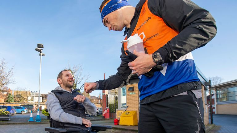 Sinfield set about raising £77,777 for the MND Association by running seven marathons in seven days. He has since raised over £2.4m