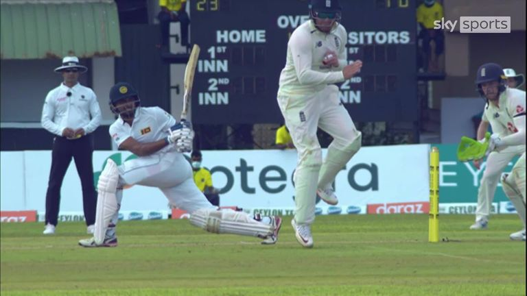 Dasun Shanaka was caught by Jos Buttler after the ball deflected off Jonny Bairstow's ankle at short leg