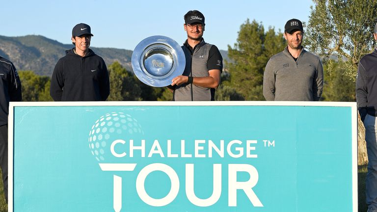 Ondrej Lieser (middle) topped the Challenge Tour's shortened Order of Merit in 2020