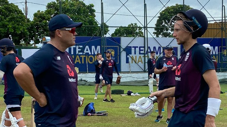 England Test captain Joe Root prepares for the first Test against Sri Lanka in Galle with batting consultant Jacques Kallis. Pic: ECB