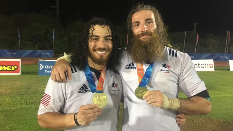 Devin and his friend Roman Wilson celebrate their gold-medal success with Team USA at the 2017 World Maccabiah Games
