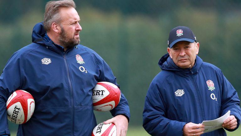 England forwards coach Matt Proudfoot (left) spoke to media on Wednesday