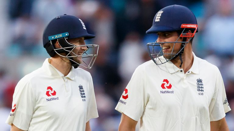 Root (L) and Sir Alastair Cook (R) both made hundreds in the latter's farewell Test against India in 2018