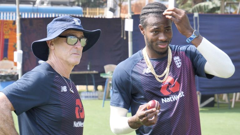 Jofra Archer has begun training in India with assistant coach Graham Thorpe overseeing the action (Pic credit: ECB)