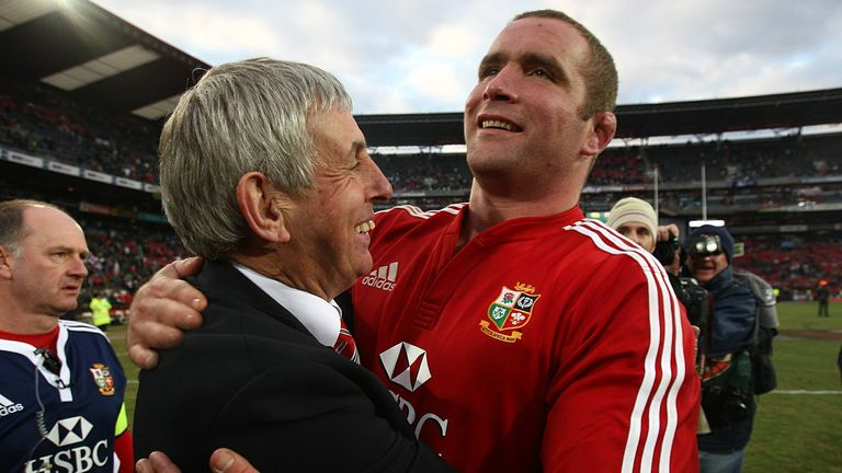 Ian McGeechan and Phil Vickery embrace following the Lions' win over South Africa in the third Test of the 2009 tour