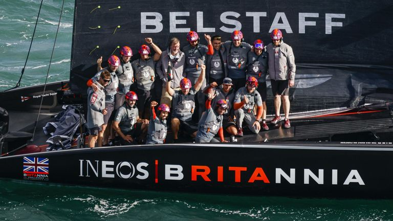 INEOS TEAM UK celebrating their victory on board BRITANNIA (Image Credit - COR 36 | Studio Borlenghi)