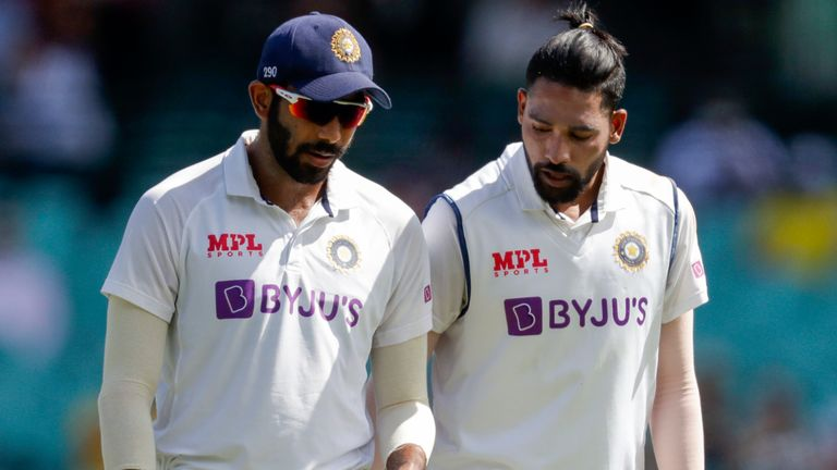 India bowlers Jasprit Bumrah (L) and Mohammed Siraj were allegedly abused on day three of the Test