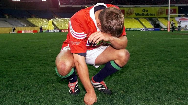 Jonny Wilkinson drops to his knees after Lions defeat Australia in third test