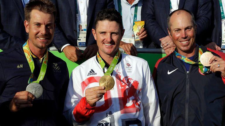 Justin Rose (centre) claimed gold in 2016 ahead of Henrik Stenson (left) and Matt Kuchar (right)