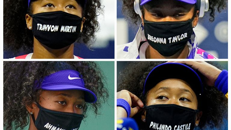 Naomi Osaka wears face masks bearing the names of Black victims of police violence and racial profiling during the US Open