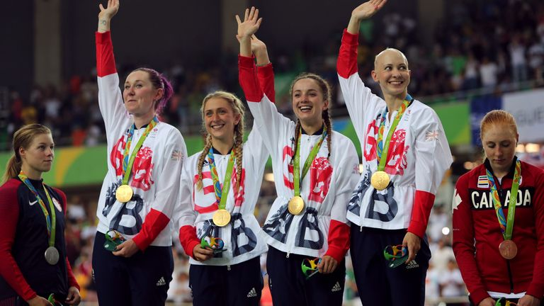 Barker (centre right) celebrates winning gold for Team GB in Rio de Janeiro four-and-a-half years ago