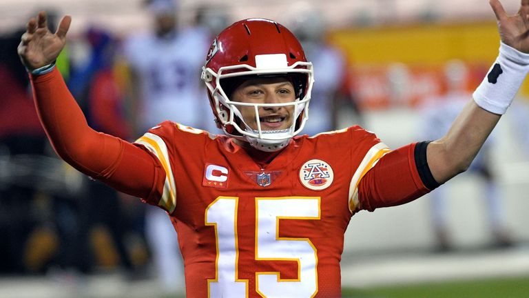 Kansas City Chiefs quarterback Patrick Mahomes celebrates at the end of their AFC championship win over the Buffalo Bills