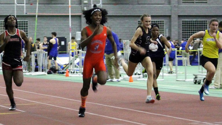 Bloomfield High School transgender athlete Terry Miller, second from left, wins the final of the 55-meter dash over trans athlete Andraya Yearwood, far left, at a Connecticut high school championship indoor track meet in February 2019
