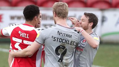 Charlton Athletic's Jayden Stockley clashed with Fleetwood Town players after a challenge with Fleetwood's Jordan Rossiter