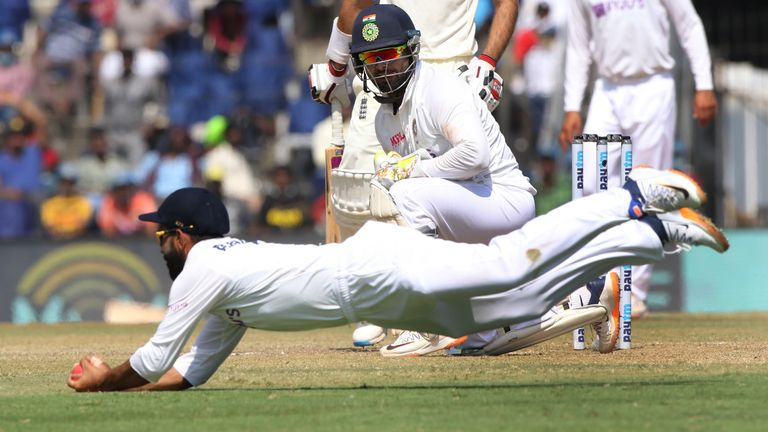 Ajinkya Rahane caught Moeen Ali at slip after Axar Patel's delivery deflected off Pant's thigh (Pic credit - BCCI)