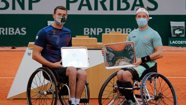 Alfie Hewett, right, was a champion at last year's French Open and while that is the next Grand Slam on the agenda, David Wagner shares thoughts of the wheelchair tennis season  (AP Photo/Christophe Ena)