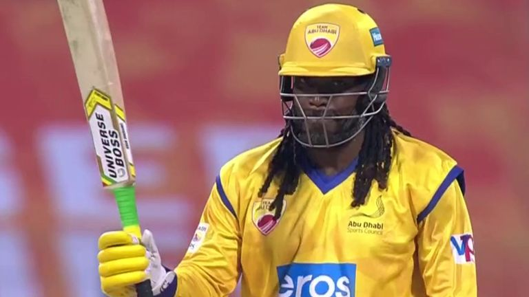 Chris Gayle was in merciless form as Team Abu Dhabi won by nine wickets with 27 balls in the bank