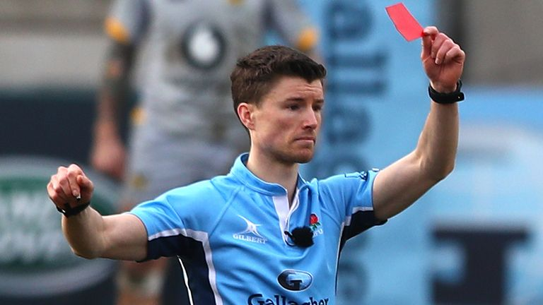Referee Craig Maxwell-Keys was kept busy during the clash between Leicester and Wasps