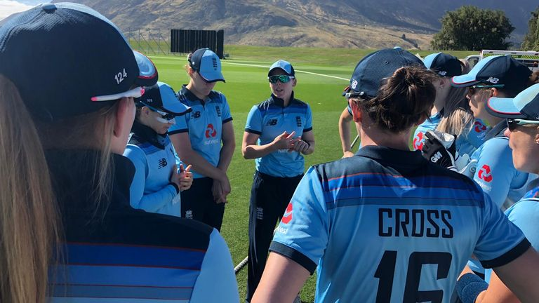 England captain Heather Knight chats to her side in Queenstown (Pic credit - ECB)