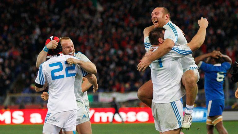 Italia celebra su victoria sobre Francia en 2013
