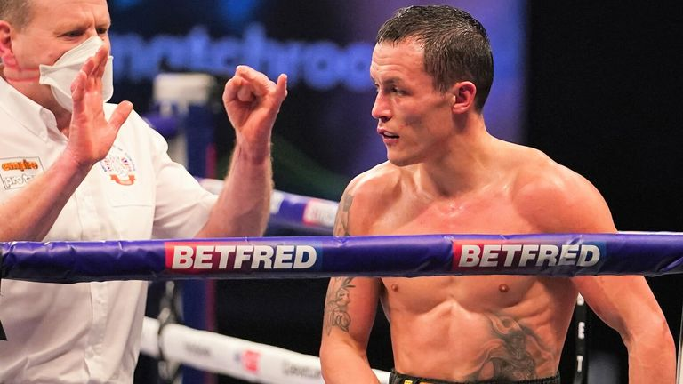 Warrington was floored in the fourth round