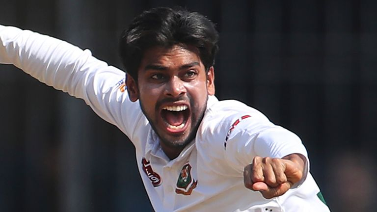 Bangladesh spinner Mehidy Hasan now has seven wickets and a century in the match