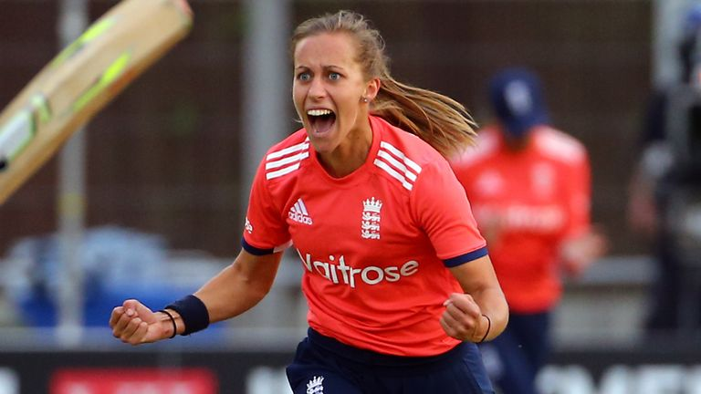 Farrant celebrates dismissing Pakistan's Nahia Khan during the NatWest International T20 match at Chelmsford in 2018