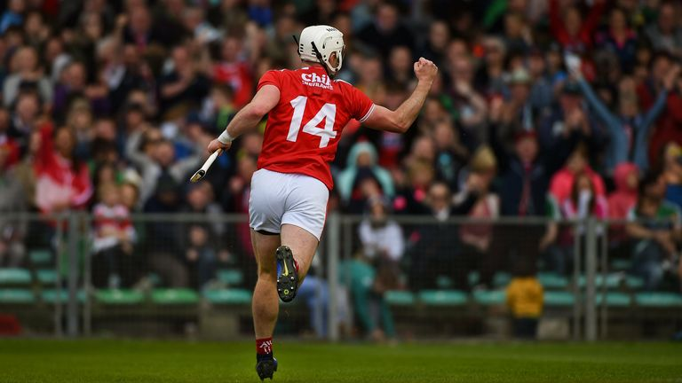 Horgan celebrates a goal during the 2019 Munster Championship win over Limerick