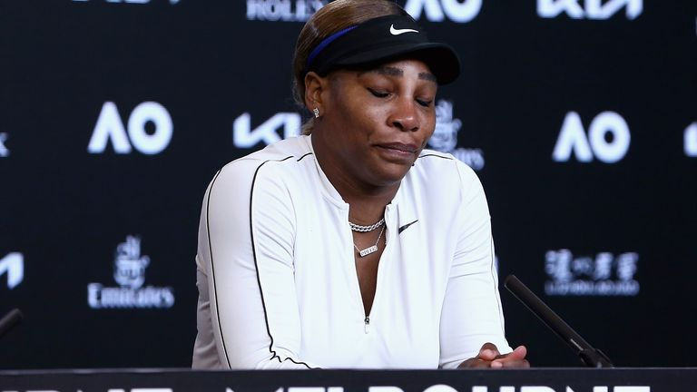 The great American became tearful during her post-match press conference before leaving the room