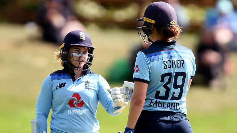 Tammy Beaumont and Nat Sciver shared a century stand for England's third wicket in Dunedin