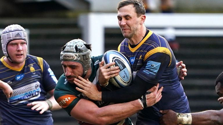 Leicester's Tomas Lavanini tackles Ashley Beck of Worcester during Saturday's Premiership clash
