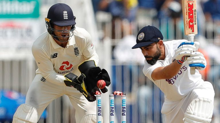 Kohli was bowled through the gate by Moeen before lunch on day one in Chennai (Pic credit - BCCI)