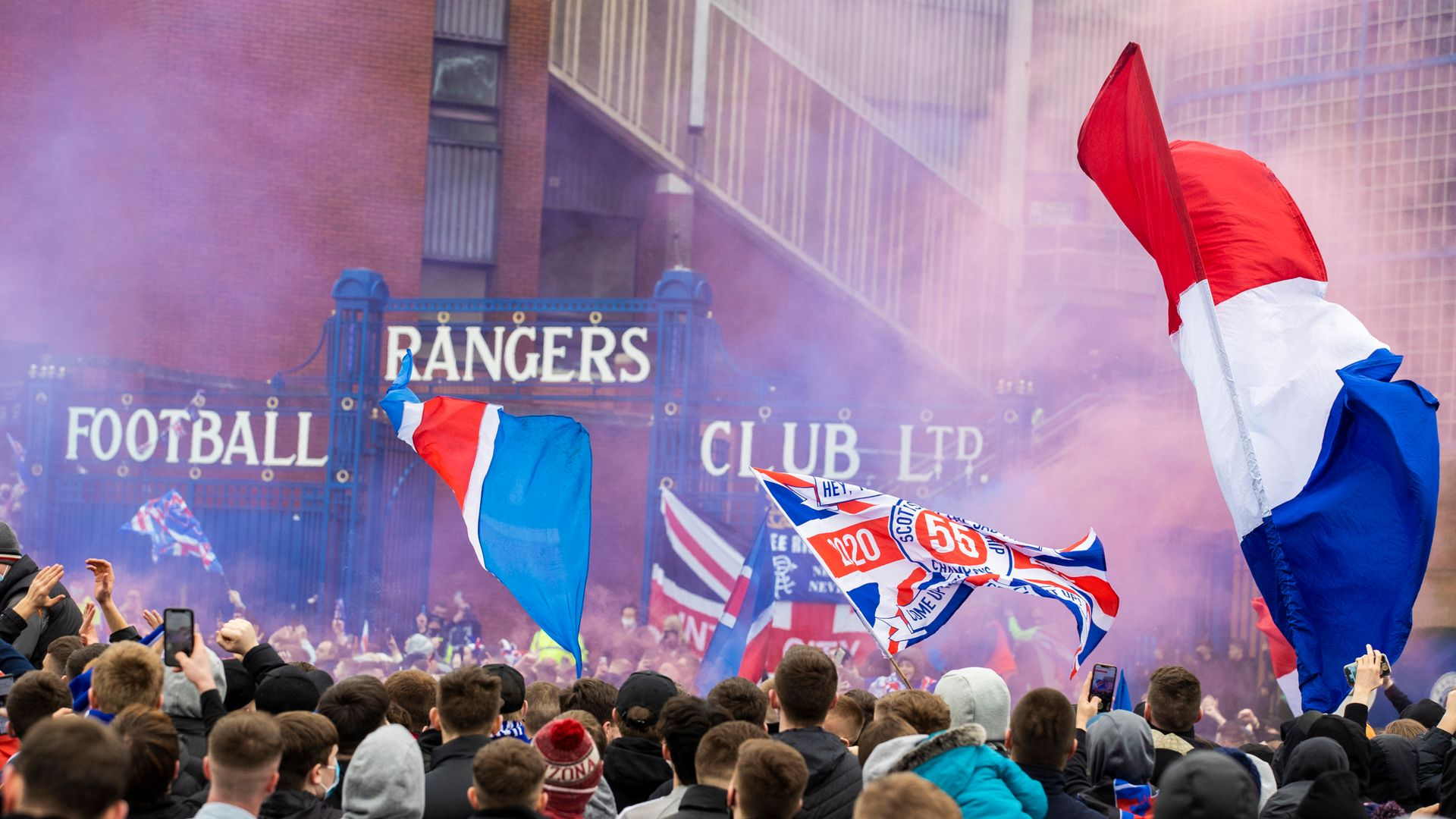 Rangers fans break lockdown to gather at Ibrox