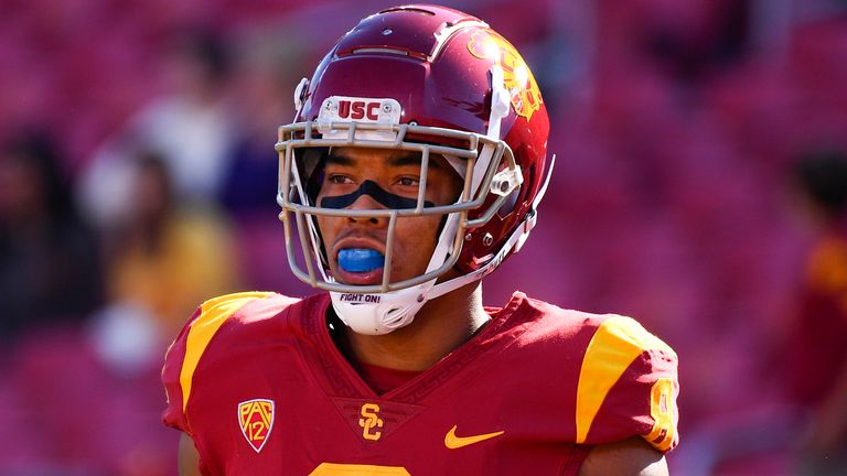 USC wide receiver Amon-Ra St Brown (Photo by Brian Rothmuller/Icon Sportswire) (Icon Sportswire via AP Images)