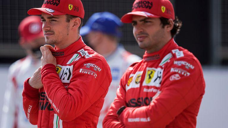 Charles Leclerc and new Ferrari team-mate Carlos Sainz in Bahrain