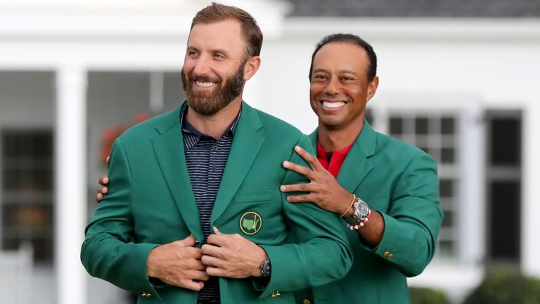 Dustin Johnson  was presented with the Green Jacket last year by Tiger Woods