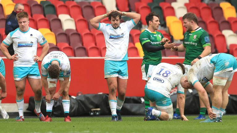 London Irish celebrate after the final whistle at the Brentford Community Stadium