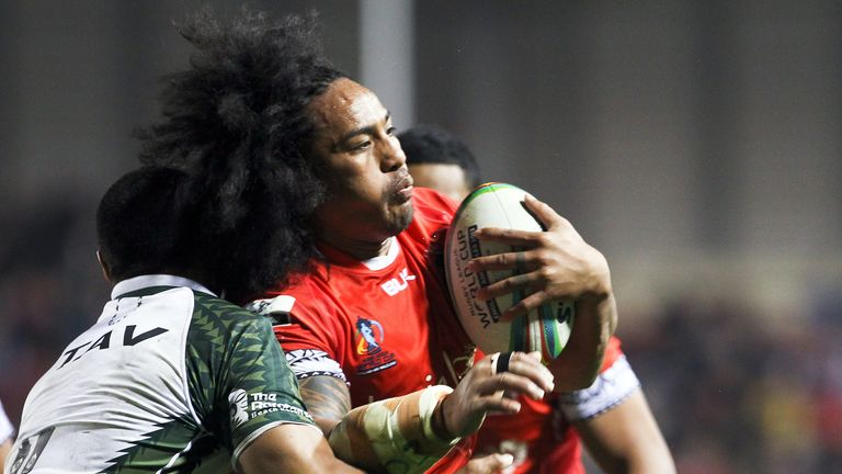 Fuifui Moimoi in action for Tonga at the 2013 Rugby League World Cup