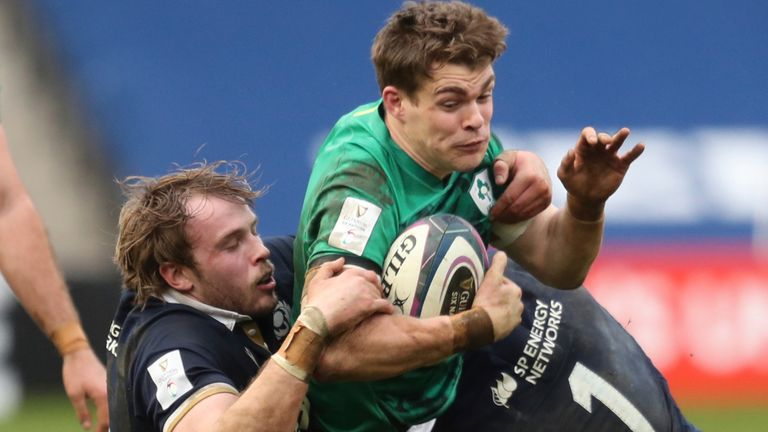 Ireland centre Garry Ringrose suffered an ankle injury against Scotland