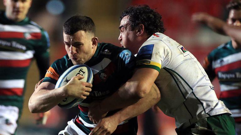 Matt Scott is tackled by London Irish's Agustin Creevy