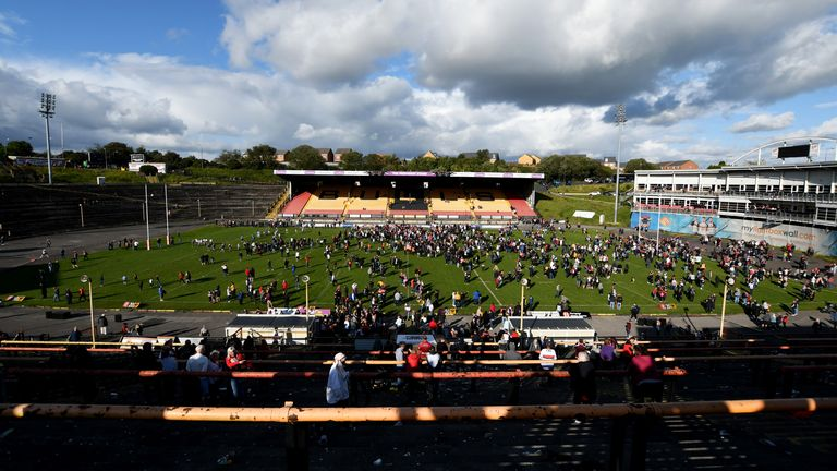 Bradford Bulls fans on the pitch at Osdal after the final game at the stadium in 2019