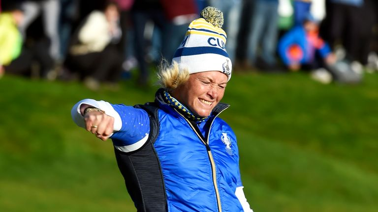 Suzann Pettersen celebrates after holing the winning putt at the 2019 Solheim Cup