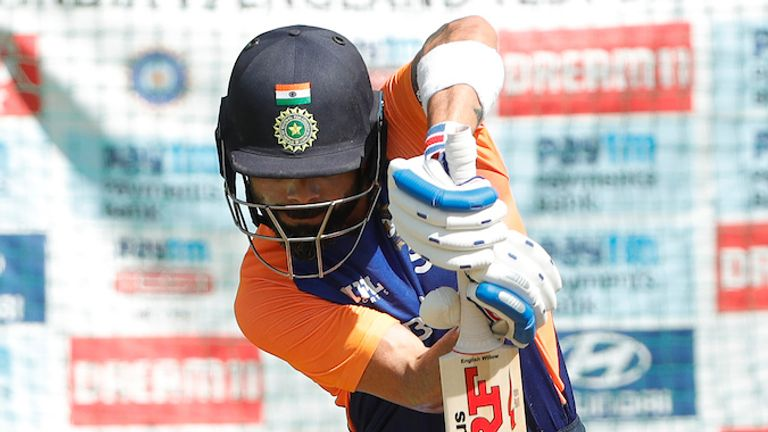 Virat Kohli batting in the nets ahead of the fourth and final Test against England (Picture credit: BCCI)