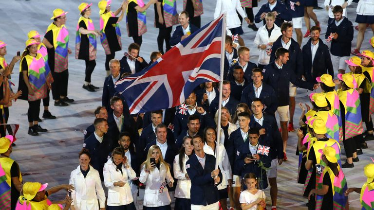 Two-time Olympic gold medalist Andy Murray was the British team's flag bearer at Rio 2016