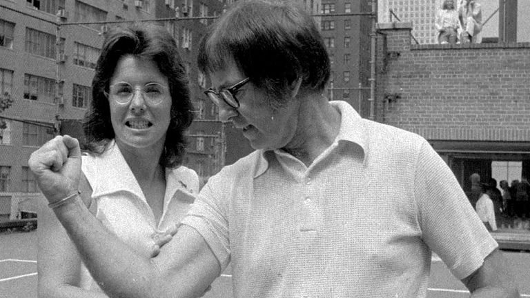 Bobby Riggs (right) poses with Billie Jean King ahead of their 'Battle of the Sexes' clash in 1973 which was watched by 90 million people worldwide